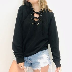 NWT UO Project Social T black lace up pullover